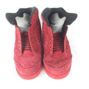 Jordan 5 Retro Red Suede Children Boys Shoes